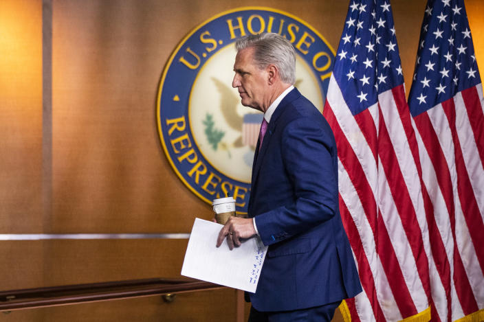 House Minority Leader Kevin McCarthy of Calif., concludes his news conference on Capitol Hill, Thursday, May 7, 2020, in Washington. (AP Photo/Manuel Balce Ceneta)