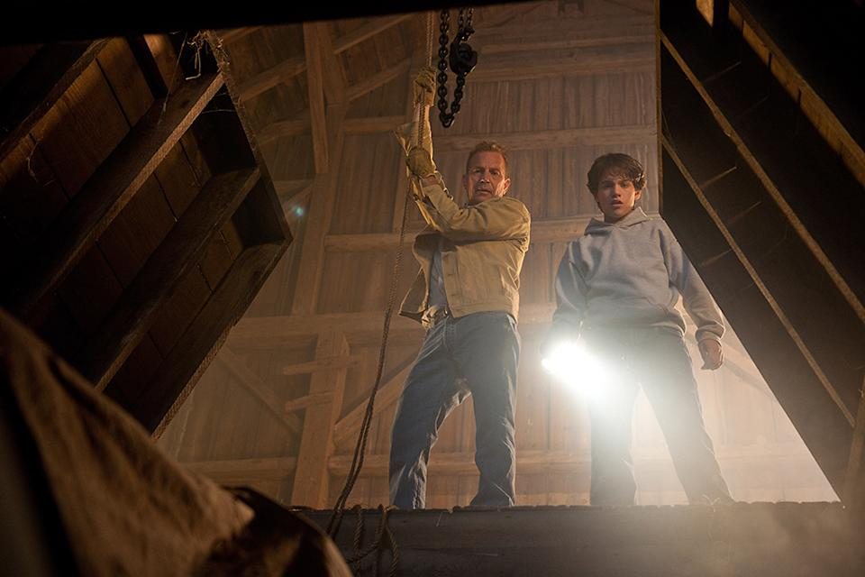 """Kevin Costner and Dylan Sprayberry as Clark Kent in Warner Bros. Pictures' """"Man of Steel"""" - 2013"""