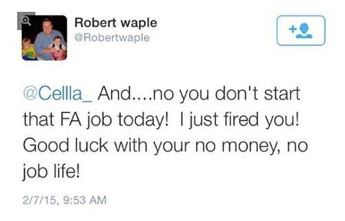 Cella was fired before her first day. Photo: Twitter.