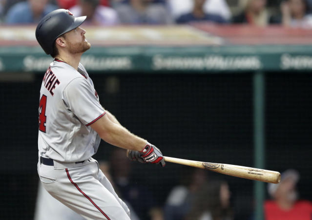 Minnesota Twins' Logan Forsythe watches his RBI double during the fourth inning against the Cleveland Indians in a baseball game Wednesday, Aug. 8, 2018, in Cleveland. (AP Photo/Tony Dejak)