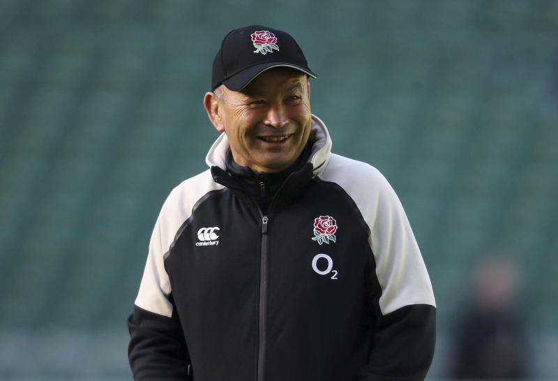 England rugby head coach Eddie Jones looks on during a team training session at Twickenham Stadium in London, Friday Nov. 2, 2018. England face South Africa upcoming Saturday, in the first of four autumn internationals to be played by England. (Adam Davy/PA via AP)