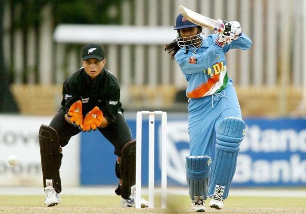 Mithali Raj of India hits out during the IWCC Women's World Cup Semi-Final between India and New Zealand at Sedgars Park Stadium on April 7, 2005 in Potchefstroom, South Africa. (Photo by Touchline/Getty Images) *** Local Caption *** Mithali Raj