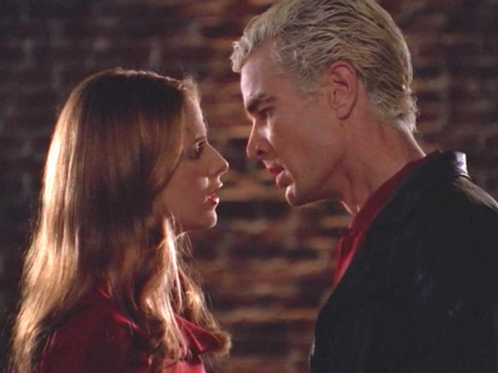 "Sarah Michelle Gellar and James Marsters on ""Buffy the Vampire Slayer."""