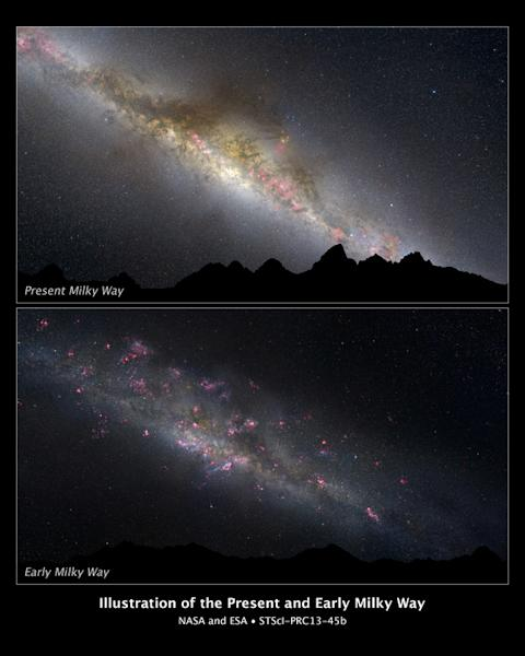 What a difference 11 billion years makes, as can be seen in these two comparative views of our Milky Way galaxy. The top view shows how our galaxy looks today; the bottom view, how it appeared in the remote past. This photo illustration is base