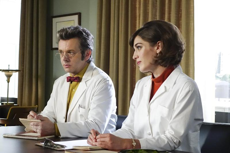 "In this image released by Showtime, Michael Sheen portrays Dr. William Masters, left, and Lizzy Caplan portrays Virginia Johnson in a scene from the original series, ""Masters of Sex."" Showtime said Wednesday, Nov. 30, 2016, that ""Masters of Sex"" is at an end after four seasons.   (Warren Feldman/Showtime via AP)"
