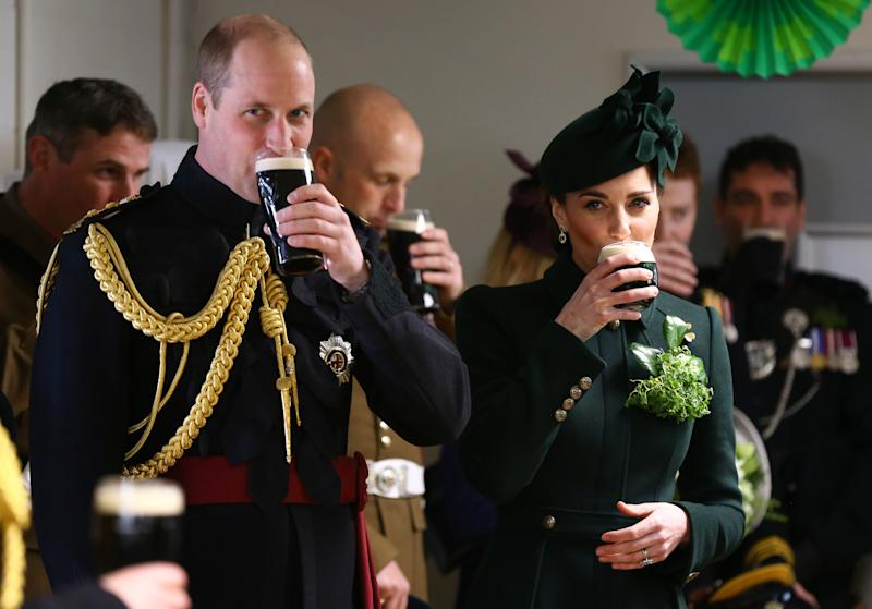 Wiliam, Duke of Cambridge and Catherine, Duchess of Cambridge meets with Irish Guards after attending the St Patrick's Day parade at Cavalry Barracks in Hounslow, where they presented shamrock to officers and guardsmen of 1st Battalion the Irish Guards on March 17, 2019 in Hounslow, England. (WPA Pool via Getty Images)
