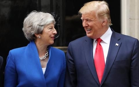 British Prime Minister Theresa May and US President Donald Trump arrive at 10 Downing street for a meeting - Credit: Dan Kitwood/Getty