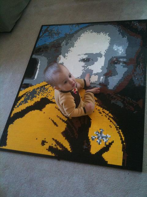 Max sitting on a mosaic of Max, by Dave Ware. (This mosaic took first place in a local LEGO show)