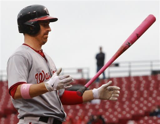 Washington Nationals' Adam LaRoche flips his bat after striking out against Cincinnati Reds starting pitcher Bronson Arroyo in the third inning of a baseball game on Sunday, May 13, 2012, in Cincinnati. (AP Photo/Al Behrman)