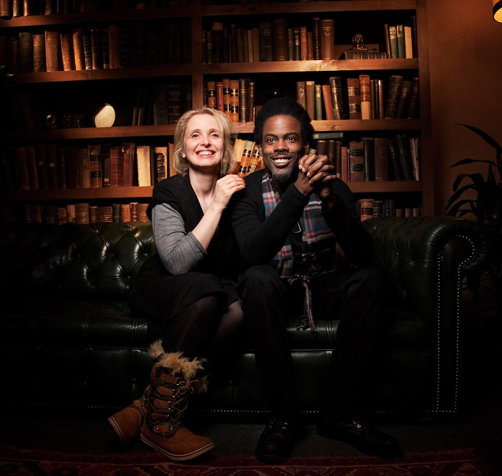 """Julie Delphy, left, and Chris Rock from the film """"2 Days in New York,""""  pose for a portrait during the 2012 Sundance Film Festival on Tuesday,  Jan. 24, 2012, in Park City, Utah."""