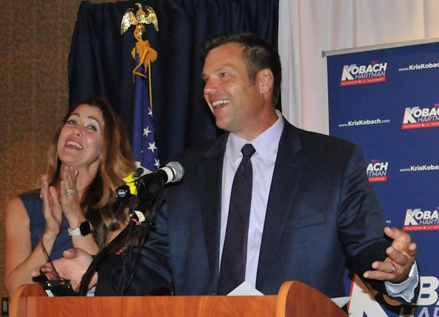 Republican primary candidate for Governor Kris Kobach, and his wife Heather Kobach speaks to supporters just after midnight in a tight race with Jeff Colyer that is too close to call on August 7, 2018 in Topeka, Kansas. (Photo: Steve Pope/Getty Images)