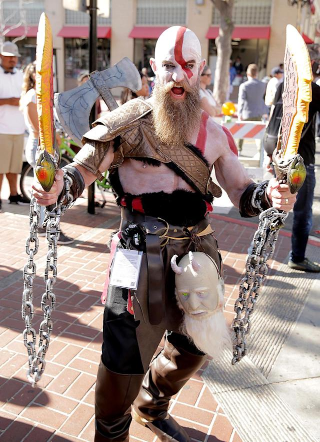 <p>Cosplayer dressed as Kratos at Comic-Con International on July 20, 2018, in San Diego. (Photo: Quinn P. Smith/Getty Images) </p>