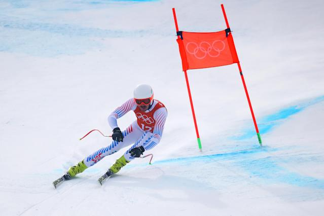 American skier Bryce Bennett during a training run at the 2018 PyeongChang Winter Olympics. (Getty)