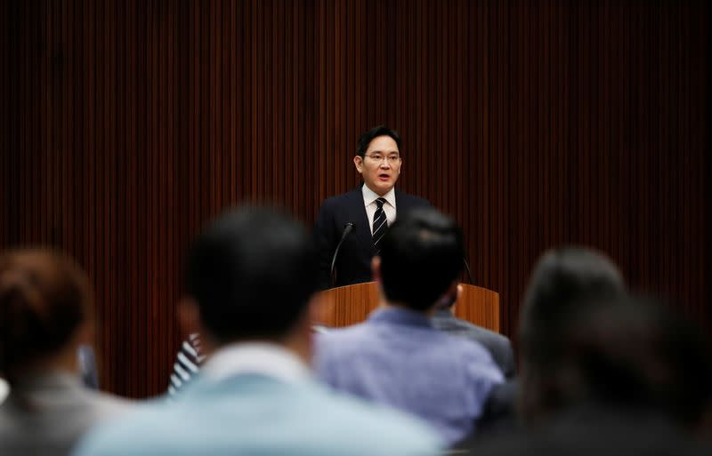 Samsung Electronics Vice Chairman, Jay Y. Lee, speaks during a news conference at a company's office building in Seoul