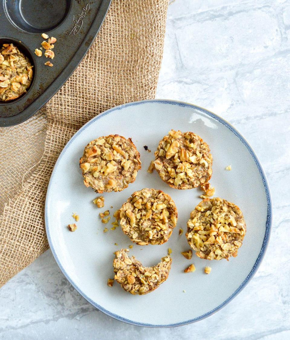 """<p>These fruity vegan oat cups are satisfyingly chewy and loaded with healthy fats from chia seeds and walnuts. </p><p><a class=""""link rapid-noclick-resp"""" href=""""https://nutritionalanatalie.com/banana-chia-walnut-oat-cups/"""" rel=""""nofollow noopener"""" target=""""_blank"""" data-ylk=""""slk:GET THE RECIPE"""">GET THE RECIPE</a></p><p><em>Per serving: 241 calories, 10 g fat (1 g saturated), 33 g carbs, 13 mg sodium, 6 g sugar, 7 g fiber, 7 g protein</em></p>"""
