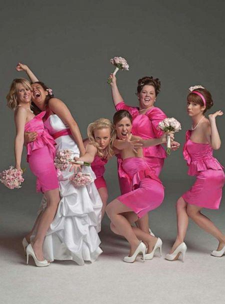 PHOTO: Pictured in a promotional still for the movie Bridesmaids are (l-r): Kristen Wiig, Maya Rudolph, Wendi McLendon-Covey, Rose Byrne, Melissa McCarthy, and Ellie Kemper. (Universal Pictures, © 2011 Universal Studios. ALL RIGHTS RESERVED.)