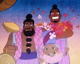 A member of Talon has sliced durian on his sword, while the leader of Talon carries two swords in her hands. Another person in the background carries bunches of flowers