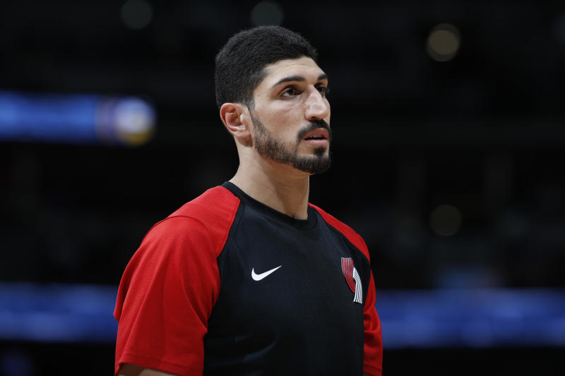 Portland Trail Blazers center Enes Kanter (00) in the second half of an NBA basketball game Friday, April 5, 2019, in Denver. The Nuggets won 119-110. (AP Photo/David Zalubowski)
