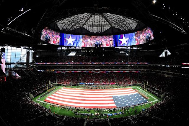 The flag at the Falcons-Cowboys game in Atlanta. (Getty)