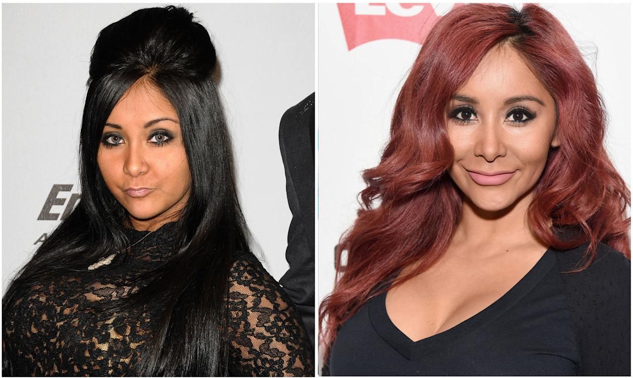 """<p>Remember when this self-described """"meatball"""" single-handedly made the """"pouf"""" famous? In her <em>Jersey Shore</em><span>days, Snooki was known for her down-to-there black hair (and the bump, of course), spider eyelashes, and,<em>obviously</em><span>, a year-round tan. Around 2013, though, the reality star put downthe self-tanner, lightened up her hair to her now-signature red, and chilled out on the mascara. And you know what? It's really working for her.</span></span></p>"""