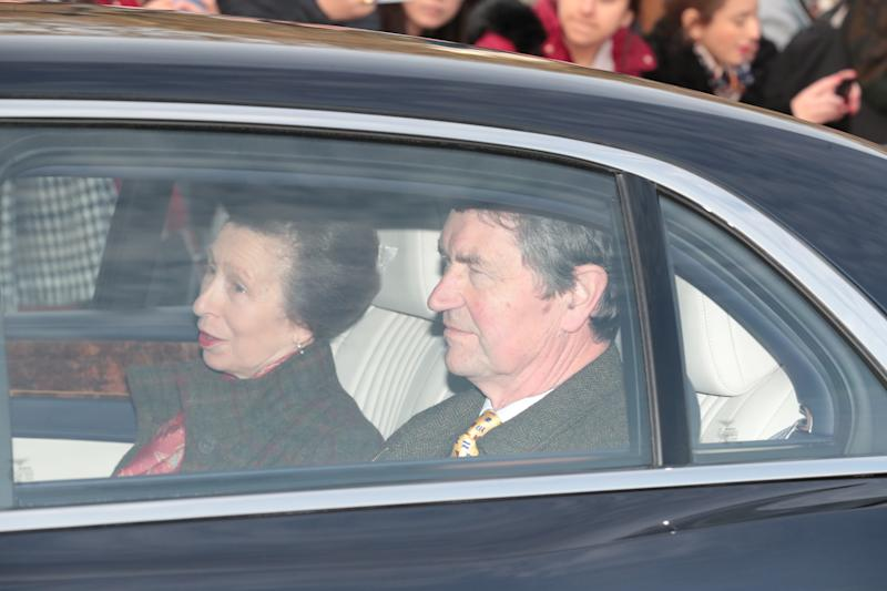 The Princess Royal and Vice Admiral Sir Tim Laurence, arrive by car for the Queen's Christmas lunch at Buckingham Palace, London.