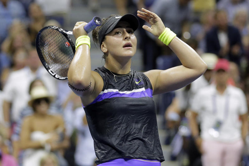 Bianca Andreescu, of Canada, reacts after defeating Elise Mertens, of Belgium, during the quarterfinals of the U.S. Open tennis tournament Wednesday, Sept. 4, 2019, in New York. (AP Photo/Seth Wenig)