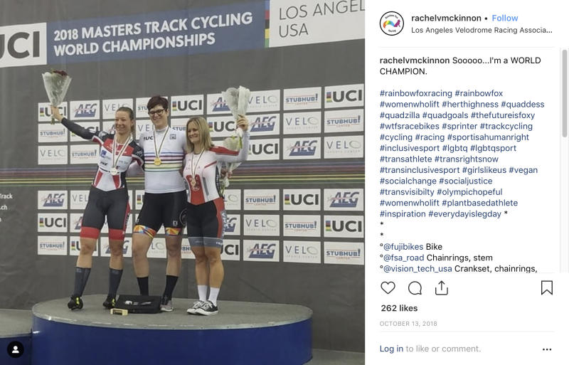 "This image from an Oct. 13, 2018 Twitter post by Canadian transgender cyclist Rachel McKinnon of Canada shows her, center, with competitors Carolien Van Herrikhuyzen of the Netherlands, left, and Jen Wagner-Assali of the U.S. receiving their awards during the UCI Masters Track Cycling World Championships in Carson, Calif. A Breitbart.com story with the headline, ""Biological Man Wins Women's World Cycling Championship,"" helped to trigger an avalanche of social-media attacks directed at McKinnon. (Rachel McKinnon via AP)"
