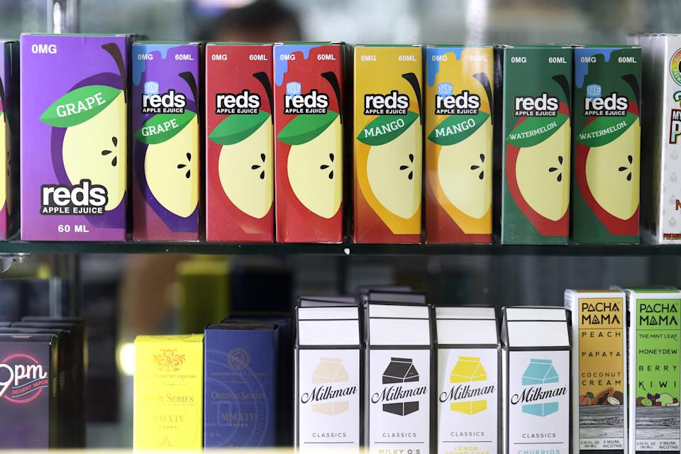 Flavoured e-liquids displayed at Smoke and Gift Shop on 25 June, 2019, in San Francisco, California. (PHOTO: Getty Images)
