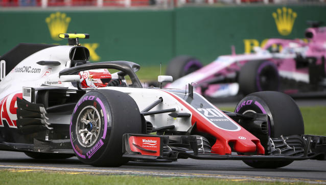 Haas driver Kevin Magnussen of Denmark turns out of corner during qualifying at the Australian Formula One Grand Prix in Melbourne, Saturday, March 24, 2018. Magnussen qualified 6th while Mercedes driver Lewis Hamilton of Britain has poll ahead of Ferrari driver Sebastian Vettel of Germany and Ferrari driver Kimi Raikkonen of Finland for Sunday's race. (AP Photo/Rick Rycroft)