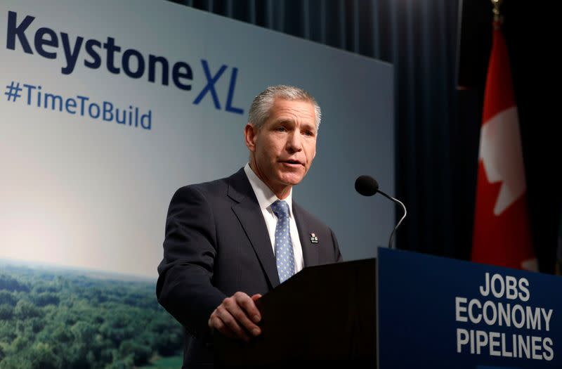TC Energy CEO and Alberta premier discuss construction Keystone XL pipeline in Calgary