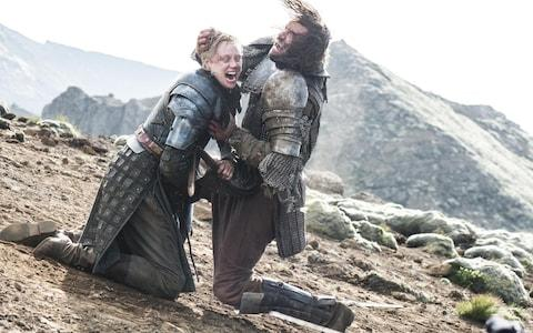 "Brienne of Tarth, portrayed by Gwendoline Christie, left, battles with Sandor ""The Hound"" Clegane in season 5"
