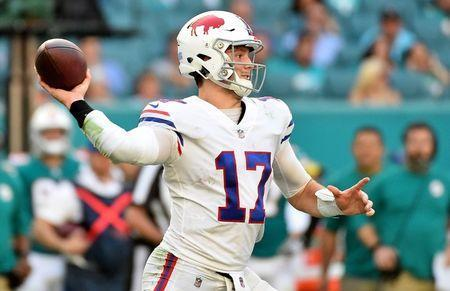 Dec 2, 2018; Miami Gardens, FL, USA; Buffalo Bills quarterback Josh Allen (17) attempts a pass against the Miami Dolphins during the second half at Hard Rock Stadium. Jasen Vinlove-USA TODAY Sports/File Photo