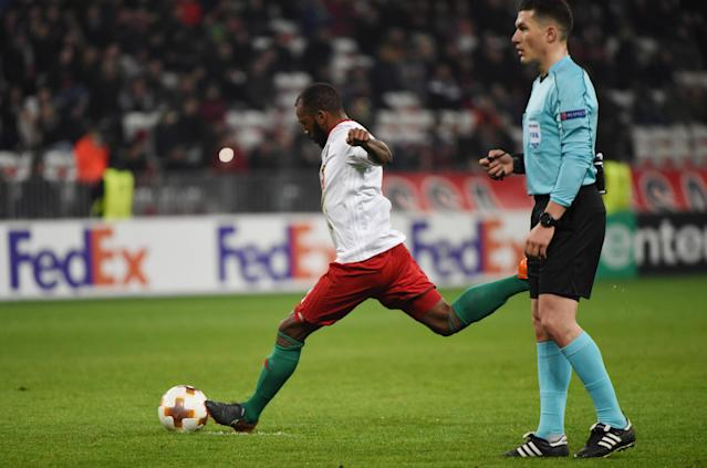 Soccer Football - Europa League Round of 32 First Leg - OGC Nice vs Lokomotiv Moscow - Allianz Riviera, Nice, France - February 15, 2018 Lokomotiv Moscow's Manuel Fernandes scores their second goal REUTERS/Jean-Pierre Amet