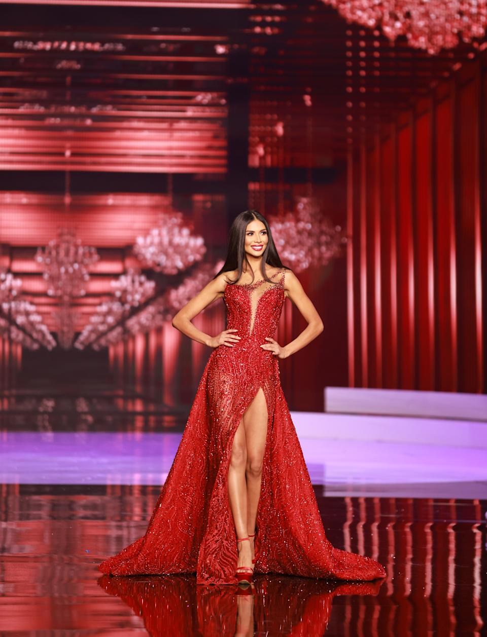 <p>Ivonne Cerdas, Miss Universe Costa Rica 2020 competes on stage as a Top 10 finalist in an evening gown of her choice during the 69th Miss Universe Competition on May 16, 2021 at the Seminole Hard Rock Hotel & Casino in Hollywood, Florida airing LIVE on FYI and Telemundo. Contestants from around the globe have spent the last few weeks touring, filming, rehearsing and preparing to compete for the Miss Universe crown. (PHOTO: Miss Universe)</p>