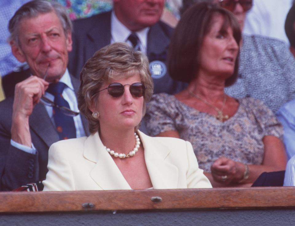9 JUL 1995:  DIANA, PRINCESS OF WALES, WATCHES FROM THE CROWD AS BORIS BECKER LOSES TO PETE SAMPRAS OF THE USA IN THE MENS SINGLES FINAL AT THE WIMBLEDON LAWN TENNIS CHAMPIONSHIPS.  SAMPRAS WON THE MATCH IN FOUR SETS 6-7 (2-7), 6-2, 6-4, 6-2 TO TAKE THETITLE. Mandatory Credit: Clive Brunskill/ALLSPORT