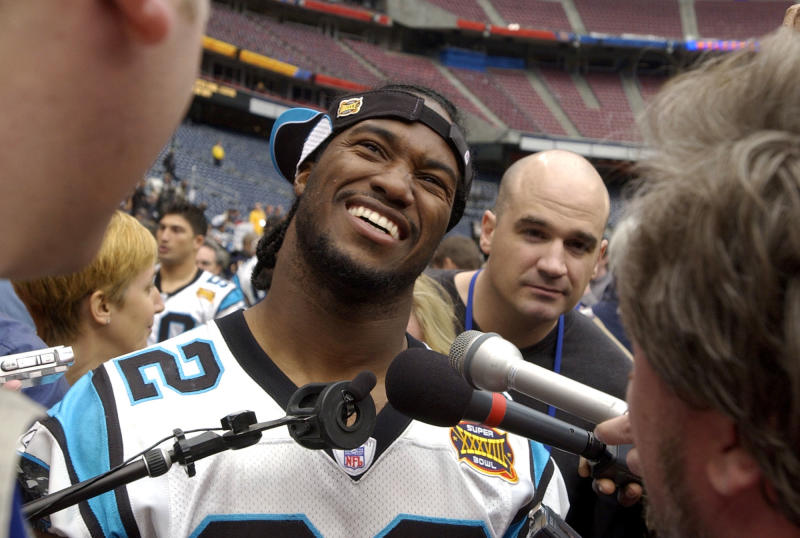 Carolina Panthers running back Rod Smart answers questions during media day before Super Bowl XXXVIII in 2004. (AP)