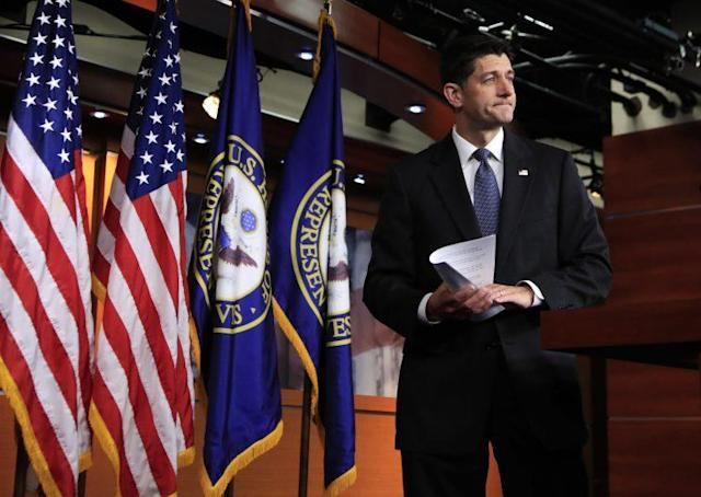 Speaker of the House Paul Ryan after his news conference on Capitol Hill Thursday. (Photo: Manuel Balce Ceneta/AP)