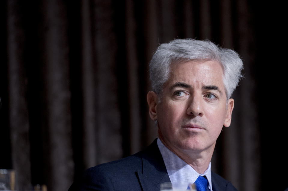 FILE - In this Nov. 12, 2019 file photo, billionaire investor William Ackman appears for a speech at the Economic Club of New York at the New York Hilton Midtown in New York. Ackman is setting his sights on the music industry, as his blank check company confirms it is in talks to buy a 10% stake of Universal Music Group for about $4 billion. French media company Vivendi, which owns Universal Music, also confirmed the discussions on Friday, June 4, 2021. (AP Photo/Andrew Harnik, File)