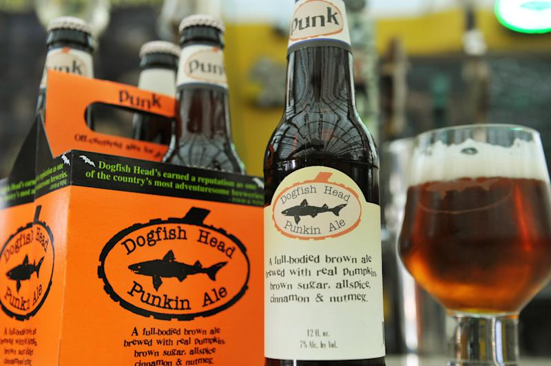 This undated photo provided by the Dogfish Head Craft Brewery in Milton, Del. shows their Punkin Ale. (AP Photo/Dogfish Head Craft Brewery)