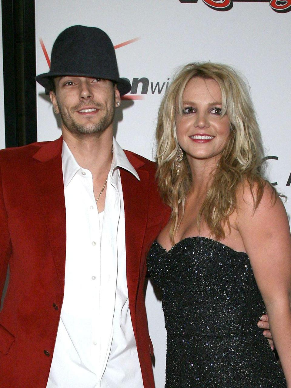 "<p>Britney Spears invited backup dancer Kevin Federline on tour with her in Europe and popped the question. Their <a href=""http://www.usmagazine.com/celebrity-news/news/britney-spears-and-kevin-federline-10th-wedding-anniversary-2014199"" rel=""nofollow noopener"" target=""_blank"" data-ylk=""slk:wedding"" class=""link rapid-noclick-resp"">wedding</a> took place on September 18, 2004. The pair were married for two years, and share two sons together. Spears filed for divorce in 2006. </p>"
