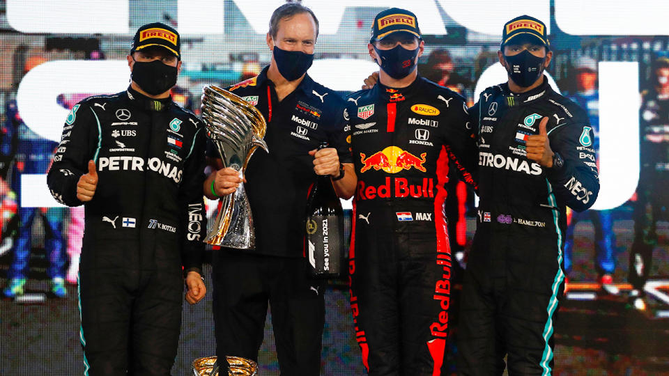 Max Verstappen won the Abu Dhabi grand prix ahead of Merceds duo Valtteri Bottas and Lewis Hamilton. (Photo by HAMAD I MOHAMMED/POOL/AFP via Getty Images)