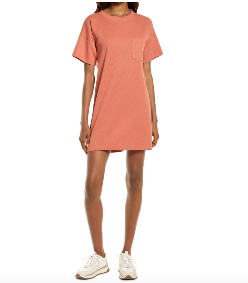 """<h2><a href=""""https://www.nordstrom.com/brands/madewell--11669"""" rel=""""nofollow noopener"""" target=""""_blank"""" data-ylk=""""slk:Up to 65% off Madewell"""" class=""""link rapid-noclick-resp"""">Up to 65% off Madewell</a></h2><br><br><strong>Madewell</strong> Rib T-Shirt Dress, $, available at <a href=""""https://go.skimresources.com/?id=30283X879131&url=https%3A%2F%2Fwww.nordstrom.com%2Fs%2Fmadewell-rib-t-shirt-dress%2F5935997"""" rel=""""nofollow noopener"""" target=""""_blank"""" data-ylk=""""slk:Nordstrom"""" class=""""link rapid-noclick-resp"""">Nordstrom</a>"""