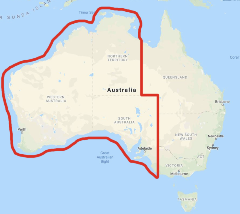An outline of the 'travel bubble' for the NT, Western Australia and South Australia. Source: ABC Darwin