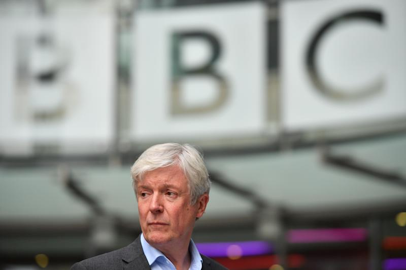 Director-General of the BBC Tony Hall is seen waiting to greet Britain's Prince William, Duke of Cambridge, and Britain's Catherine, Duchess of Cambridge, as the royal couple visit BBC Broadcasting House in London on November 15, 2018 to view the work the broadcaster is doing as a member of The Duke's Taskforce on the Prevention of Cyberbullying. (Photo by Ben STANSALL / POOL / AFP) (Photo credit should read BEN STANSALL/AFP via Getty Images)