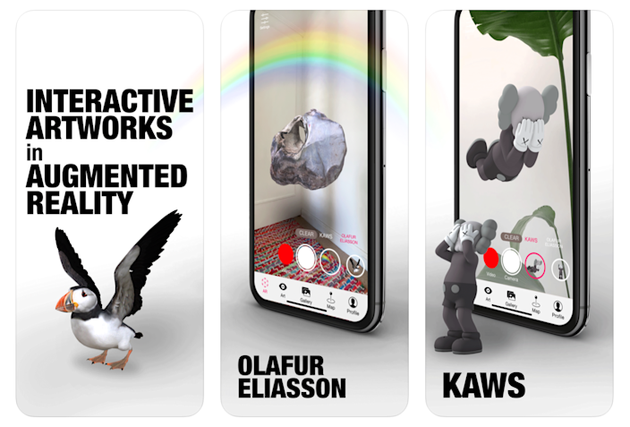 Promotional graphics for Olafur Elliason's newly released Acute Art AR artwork app.