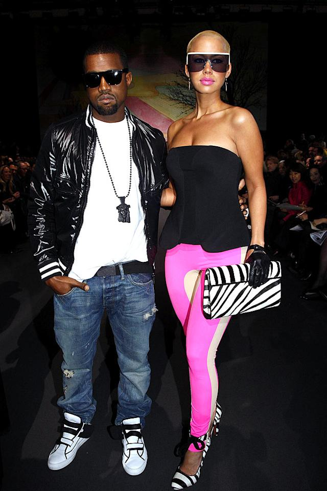 "Kanye West and his style-challenged gal pal Amber Rose attended the Stella McCartney runway show at Paris Fashion Week. Eric Ryan/<a href=""http://www.gettyimages.com/"" target=""new"">GettyImages.com</a> - March 9, 2009"