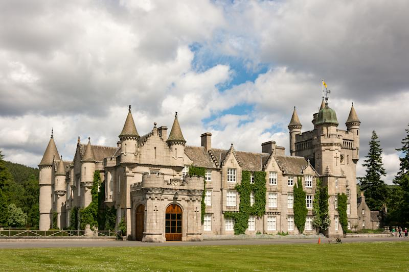 United Kingdom, Scotland, Aberdeenshire, Balmoral, View of the Balmoral Castle, Balmoral Castle is a castle located on the River Dee beneath the Lochnagar Mountain, Scotland, Queen Summer Residency, Victoria. (Photo by: Robert Plattner/Oneworld Picture/Universal Images Group via Getty Images)