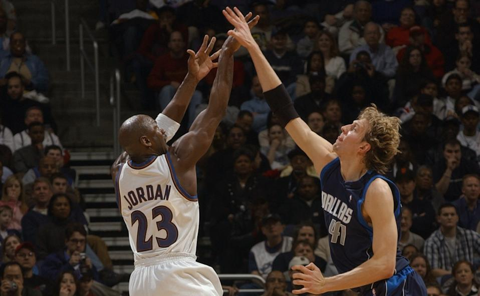 The thought of an aging Michael Jordan joining young Dirk Nowitzki and Steve Nash in Dallas leads to fascinating what-ifs. (Doug Pensinger/Getty Images)