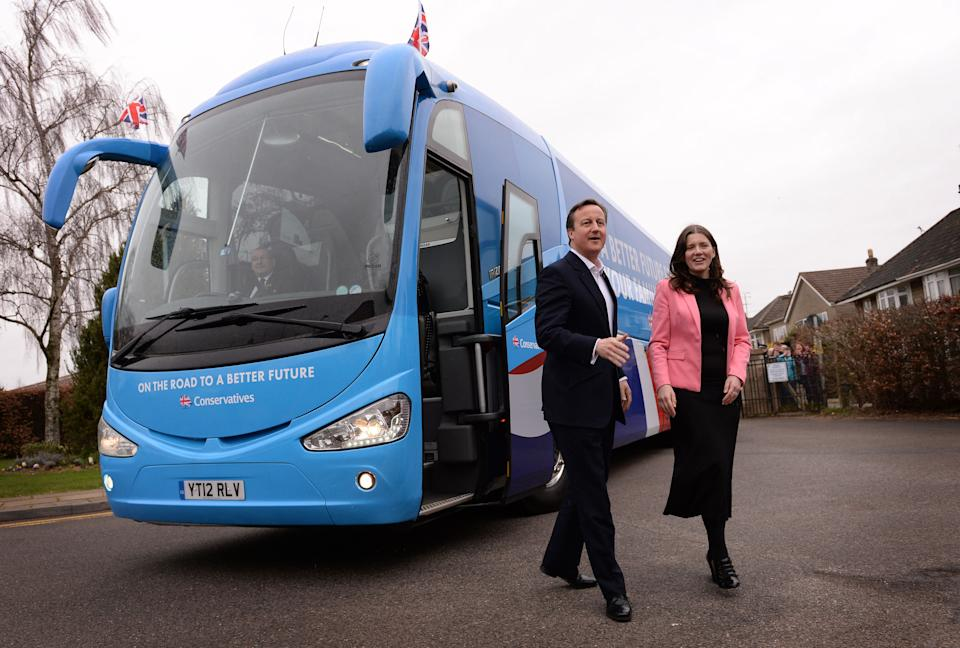 Prime Minister David Cameron is greeted by Chippenham Conservative candidate, Michelle Donelan, before he addressing Conservative Party supporters at a rally at Corsham School in Chippenham, Wiltshire on the first day of campaigning in this year's General Election.