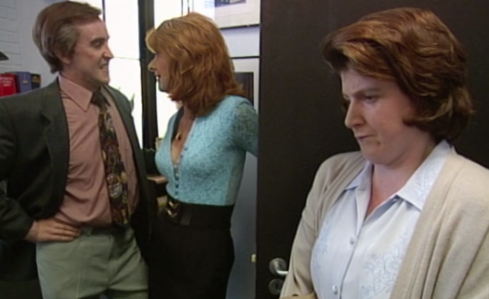 Felicity Montagu's long-suffering Lynn watches Alan wooing Jill in <i>I'm Alan Partridge</i> S1 (BBC/Netflix)